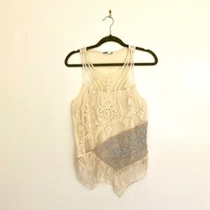 Anthropologie Lace Cream and Blue Tank
